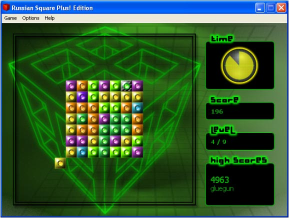 Figure 1: Russian Squares main screen and 'Neon' visual theme